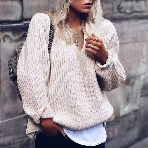 Casual V Neck Worsted Long Sleeve Sweater