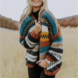 Classy Contrast Color Woven Pattern Sweater