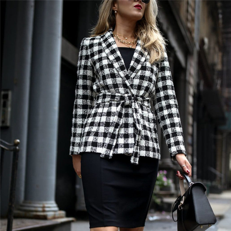Ladies Lapel Check Print Blazer