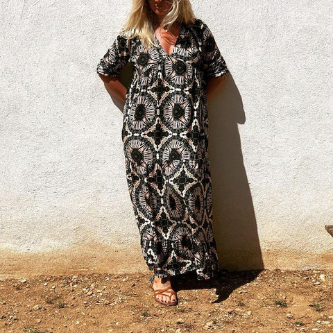 Bohemia Deep V-Neck Printed Casual Maxi Dress