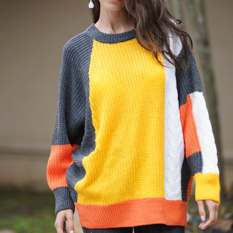 Loose Colorblock Temperament Knit  Sweater