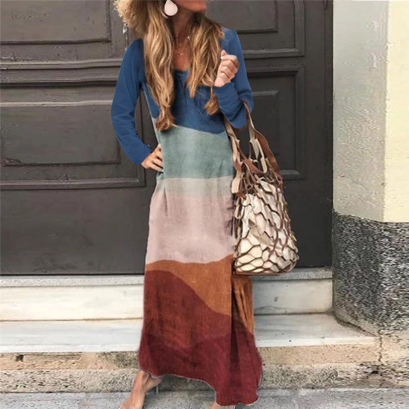 Casual Women's Stitching Color Long Sleeve Maxi Dress