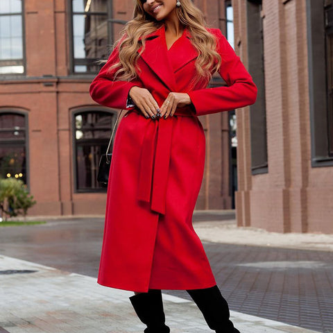 Fashion Classic Solid Color Long Sleeve Long Overcoat