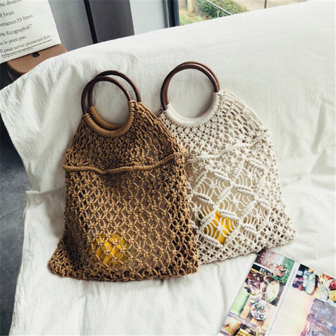 Hollow mesh cotton woven handbag