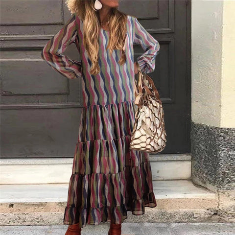 Casual Long Sleeve Printed Layered Dress