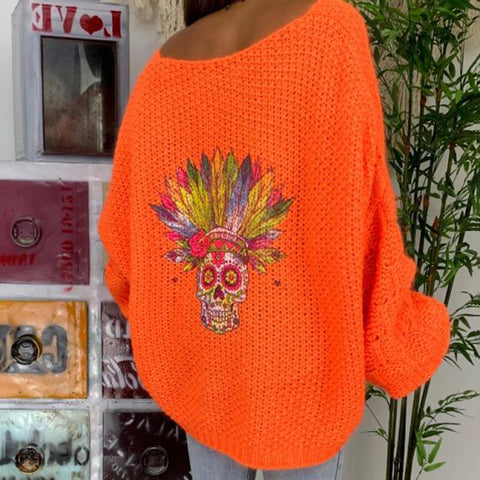Casual Skull Printed Round Neck Orange Loose Sweater