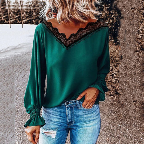 Casual V Neck Pure Color Long Sleeve T-Shirt