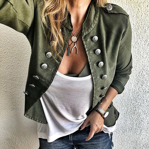 British style solid color double-breasted women's cardigan