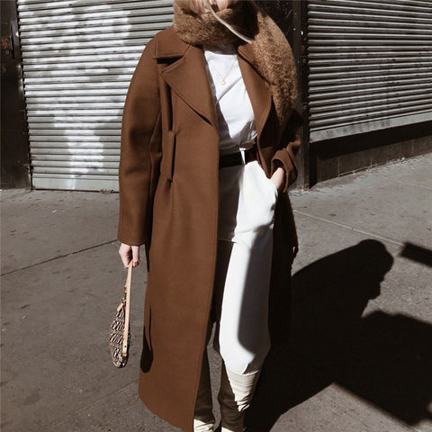 Ladies Fashion British Style Loose Brown Long Coat