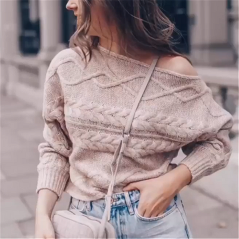 Modern Solid Long-sleeved Knit Sweater