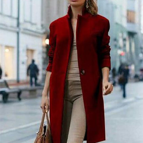 Casual Turndown Collar Long Sleeve Pure Color Coat&Overcoat