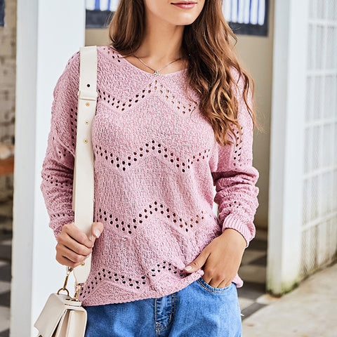Casual Long Sleeve Round Neck Knit Sweater