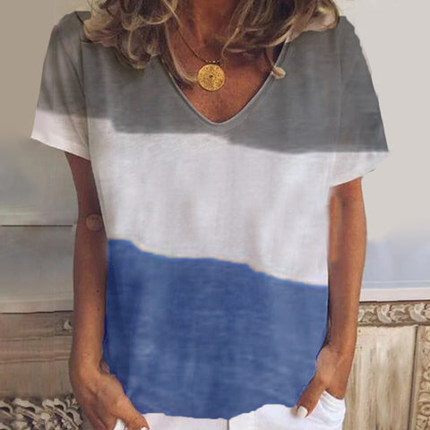 Fashion Color Matching V-neck Short Sleeve Shirt