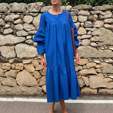 Casual Loose Round Neck Long Lantern Blue Long Vacation Maxi Dress