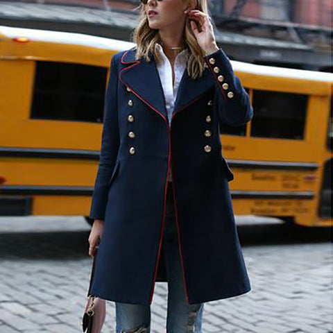 Fashion Contrast Lapel Button Long Sleeve Jacket