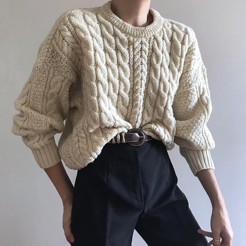 Casual Solid Color Round Neck Sweater