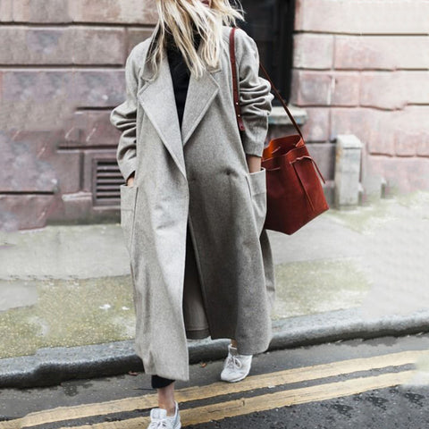 Autumn And Winter Pure Color Lapel Long Sleeved Coat
