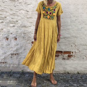Summer Vintage Short Sleeve Round Neck Embroidered Casual Maxi Dress