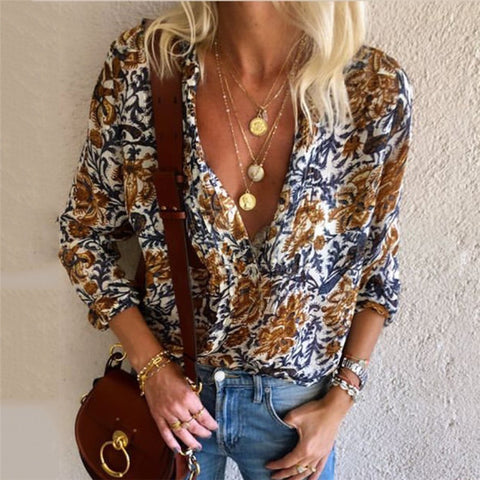 Deep V Flower Print Casual Shirt