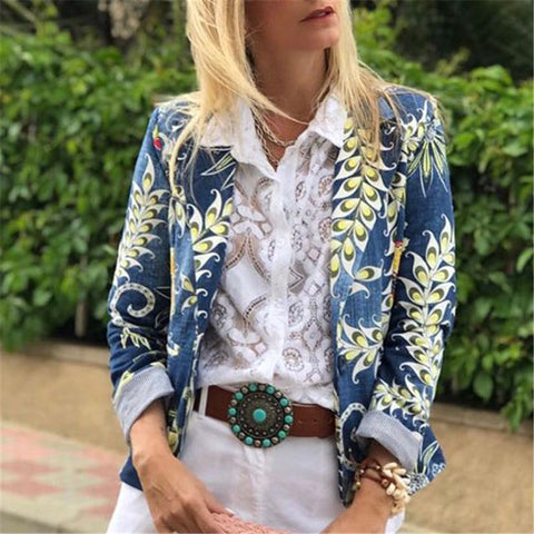 Print Long Sleeve Blazer