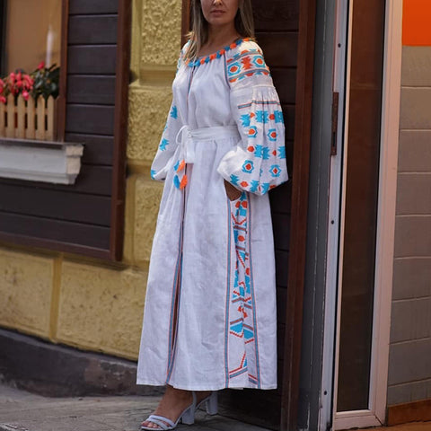 Fashion Print Puff Sleeve Belt Casual Maxi Dress