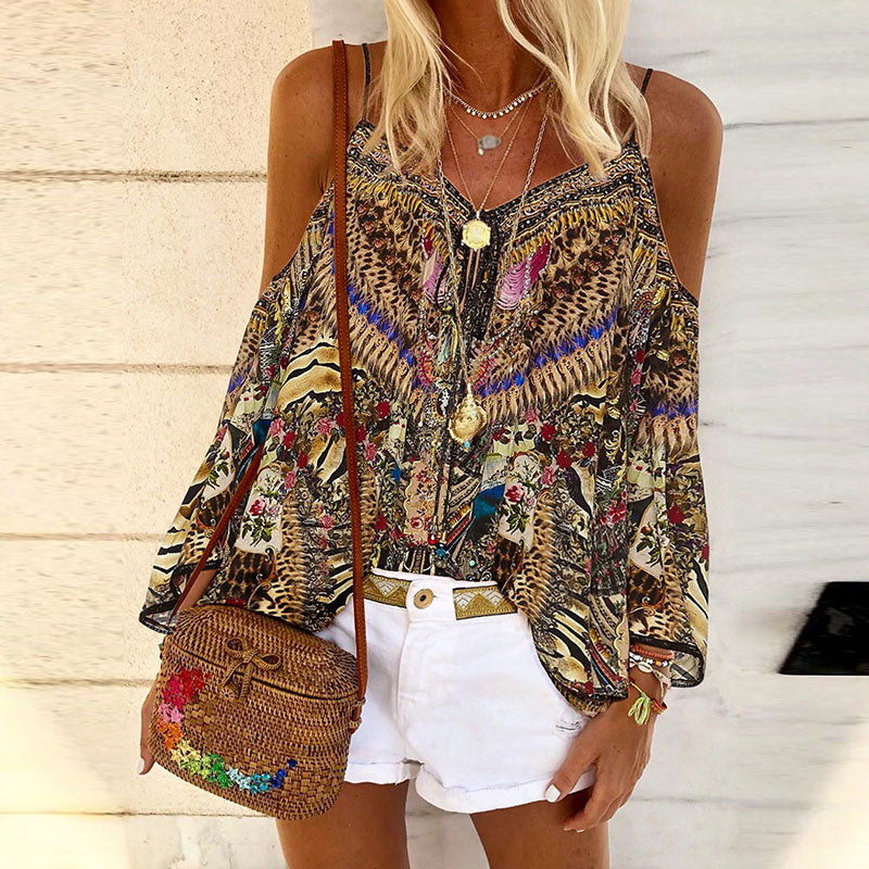 Fashion Printed Sling Off Shoulder Shirt