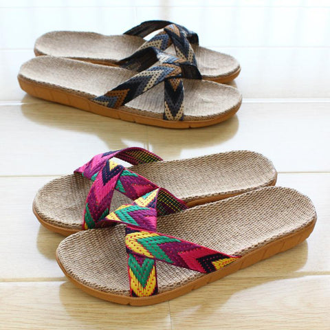 Casual Flax Slippers Sandals For   Household Couples