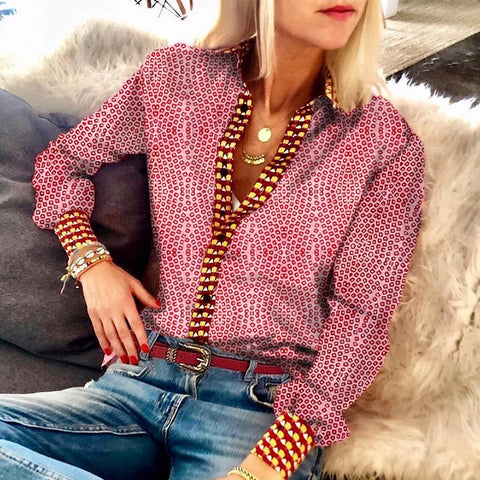 Casual V Neck Long Sleeve Printed Color Blouse