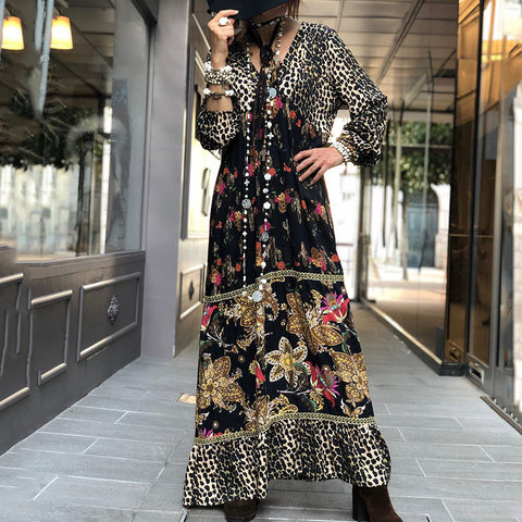 Beach V Neck Printed Color Long Sleeve Casual Maxi Dress