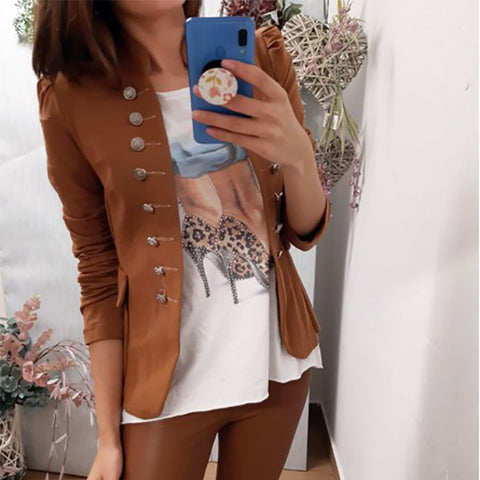Buttoned Slim Sexy Solid Color Short Jacket