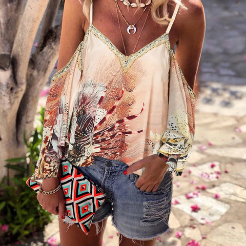 Womens Sexy Printed Colour Sling Loose Top