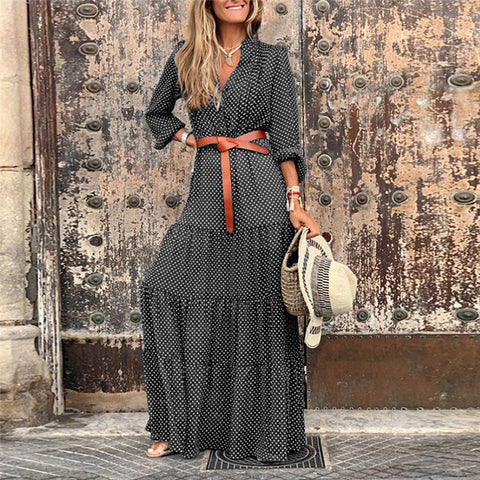 Sexy Deep V Waist Long Sleeve Bohemian Casual Maxi Dress