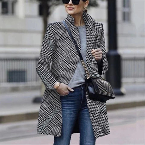 Fashion Plaid Long Sleeve Overcoat