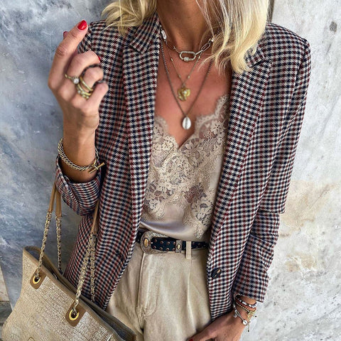 Fashion Plaid Lapel Blazer