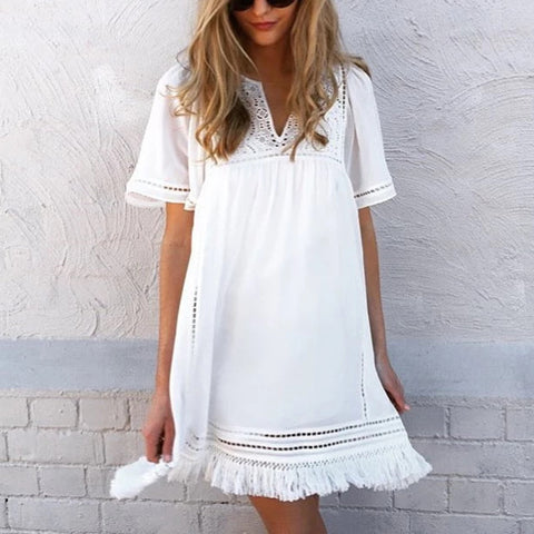 Casual Loose Solid Colour Hollow Short Sleeves Fringe Dress