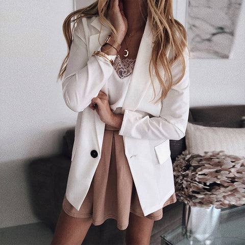 Formal Pure Color Long Sleeve A Lapel Blazer