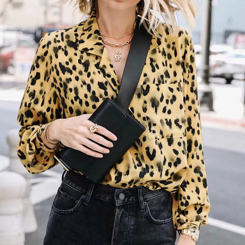 Sexy V-Neck Loose Leopard Shirt