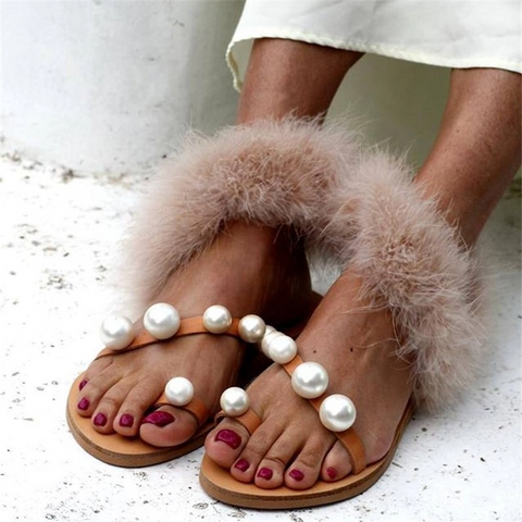 Fashion Wild Rabbit Fur Pearl   Sandals