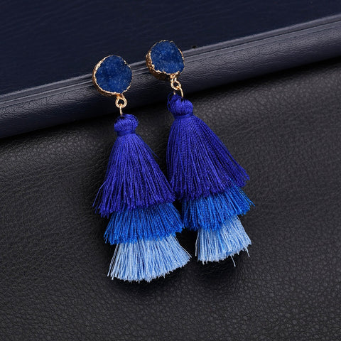 National wind contracted Long tassels resin   earrings earrings