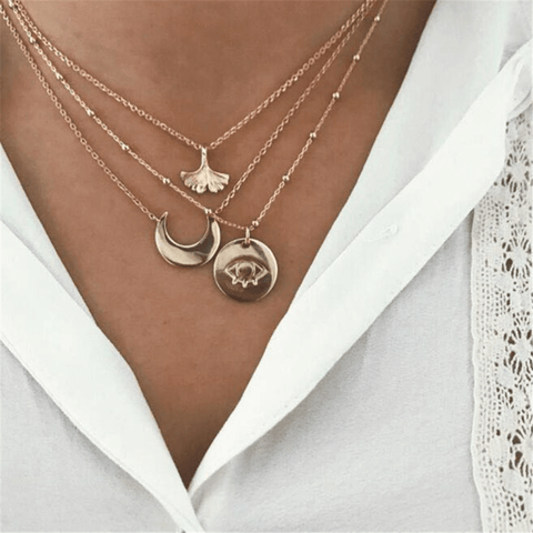Crescent fishtail eye round multi-layer necklace