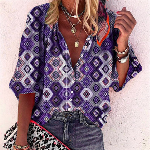 Boho Diamond Printed V Neck Shirt