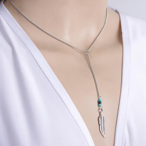 Turquoise Feather Pendant Chain Necklace