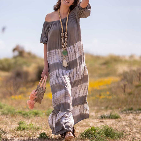 Fashion Word Collar Splicing Fringed Beach Casual Maxi Dress