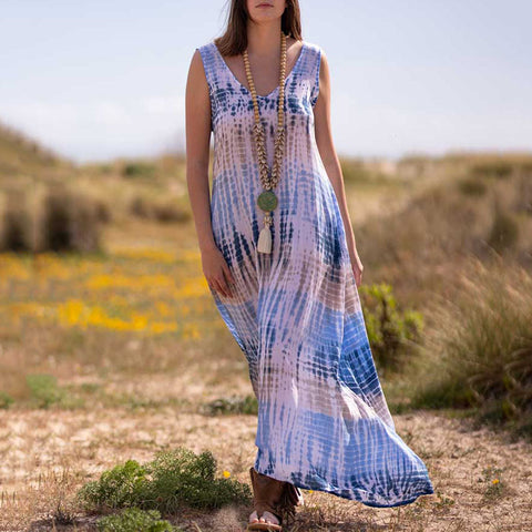 Casual V Neck Contrast Color Stripe Maxi Dress