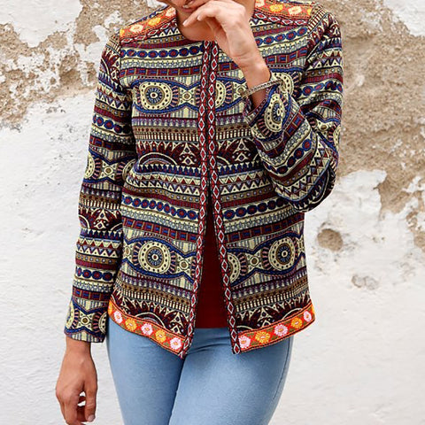 Exotic Printed Color Long Sleeve Cardigan Coat