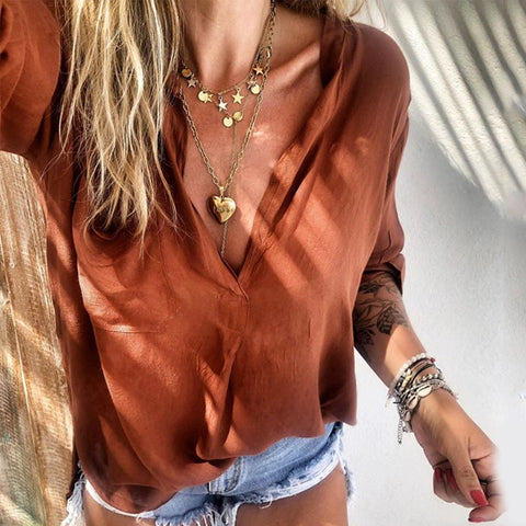 Fashion Solid Color Patch Pocket Long Sleeve Shirt