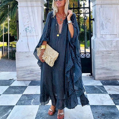 Casual Stripe Bracelet Sleeve Loose Vacation Maxi Dress