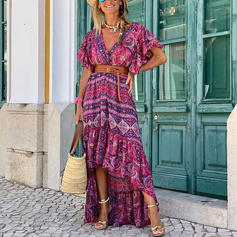 Fashion V-neck Print Stitching Ruffled Casual Maxi Dress