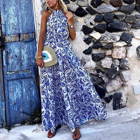 Casual Sleeveless Print Waist Long Dress
