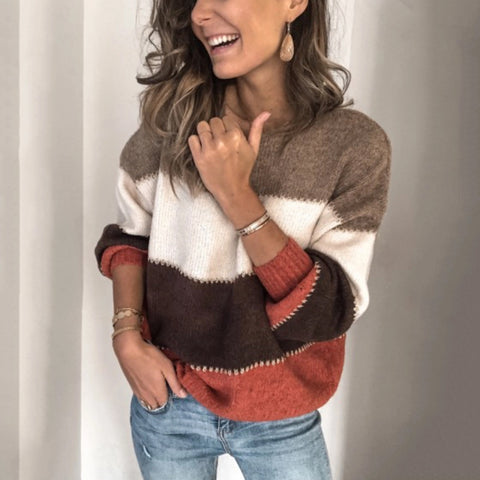 Casual Color Block Round Neck Knit Sweater